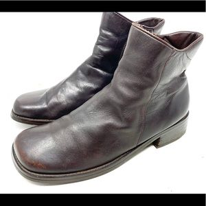 Anne Klein Brown Leather Ankle Booties 1969